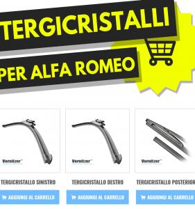 ALFA ROMEO GIULIA Tergicristalli (Spazzole Tergicristallo) Anteriore e Posteriore